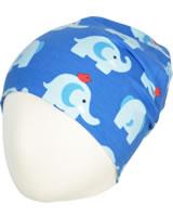 Maxomorra Mütze Beanie ELEPHANT FRIENDS blau GOTS M544-C3339
