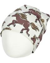 Maxomorra Mütze Beanie HORSE beige GOTS M544-C3379