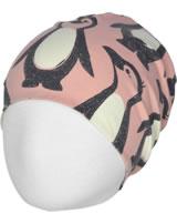 Maxomorra Mütze Beanie PINGUIN FAMILIE rosa M482-D3298 GOTS