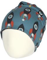 Maxomorra Mütze m. Velours-Futter MOON ROCKET blau M483-D3277 GOTS