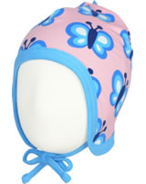 Maxomorra Hat to tie BLUEWING BUTTERFLY pink GOTS M391-C3341