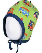 Maxomorra Mütze zum Binden BUNTE AUTOS grün/blau GOTS M391-C3334