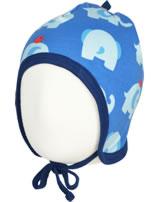 Maxomorra Mütze zum Binden ELEPHANT FRIENDS blau GOTS M391-C3339