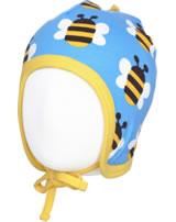 Maxomorra Mütze zum Binden HUMBLE BUMBLEBEE blau GOTS M391-C3343