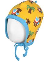 Maxomorra Mütze zum Binden KAMEL KARAWANE gelb/blau GOTS M391-C3336
