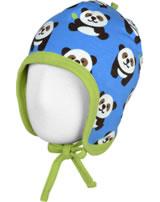Maxomorra Mütze zum Binden PANDA blau/grün GOTS M391-C3335