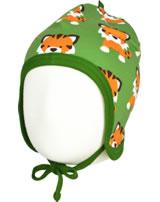 Maxomorra Hat to tie TANGERINE TIGER green GOTS M391-C3338