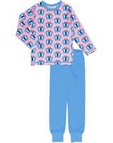 Maxomorra Pyjama set long BLUEWING BUTTERFLY pink GOTS M437-C3341