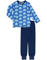 Maxomorra Pyjama set long ELEPHANT FRIENDS blue GOTS M437-C3339