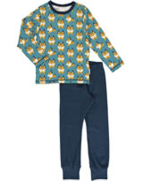 Maxomorra Pyjama lang LUCHS blau M437-D3274 GOTS