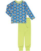 Maxomorra Pyjama lang PANDA blau/grün GOTS M437-C3335