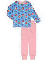 Maxomorra Pyjama lang VÖGEL blau/rosa GOTS M437-C3337