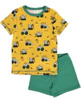 Maxomorra Pyjama Schlafanzug kurz BAGGER gelb/grün M439-D3284 GOTS