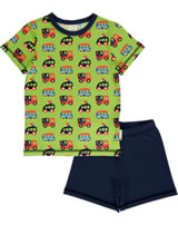 Maxomorra Pyjama Schlafanzug kurz BUNTE AUTOS grün/blau GOTS M439-C3334