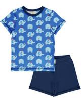 Maxomorra Pyjama short ELEPHANT FRIENDS blue GOTS M439-C3339
