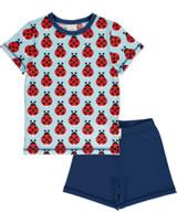 Maxomorra Pyjama Schlafanzug kurz LAZY LADYBUG blau GOTS M439-C3344