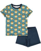 Maxomorra Pyjama Schlafanzug kurz LUCHS blau M439-D3274 GOTS