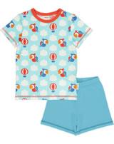 Maxomorra Pyjama short PARROT SAFARI blue GOTS M439-C3340