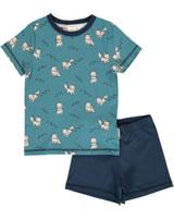 Maxomorra Pyjama Schlafanzug kurz POLARFUCHS blau M439-D3287 GOTS