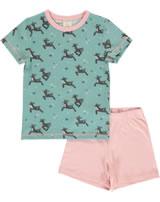 Maxomorra Pyjama Schlafanzug kurz RENTIER blau/rosa M439-D3289 GOTS