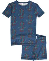 Maxomorra Pyjama Schlafanzug kurz Slim ANKER blau/rot M428-D3248 GOTS
