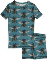 Maxomorra Pyjama Schlafanzug kurz Slim BIENE soft petrol M428-D3228 GOTS