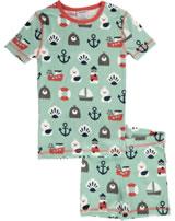 Maxomorra Pyjama Schlafanzug kurz Slim BLUE OCEAN blau/rot M428-D3234 GOTS