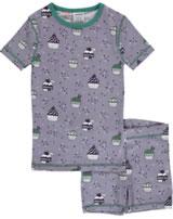Maxomorra Pyjama Schlafanzug kurz Slim CUPCAKE lila/petrol M428-D3223 GOTS