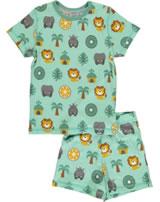 Maxomorra Pyjama Schlafanzug kurz Slim DSCHUNGEL grün/gelb M428-D3231 GOTS