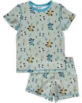 Maxomorra Pyjama short Slim LIZARD beige/bleu M428-D3242 GOTS