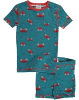 Maxomorra Pyjama Schlafanzug kurz Slim KREBS blau/rot M428-D3244 GOTS