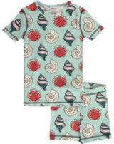 Maxomorra Pyjama Schlafanzug kurz Slim MUSCHEL blau/rot M428-D3249 GOTS