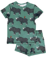 Maxomorra Pyjama Schlafanzug kurz Slim RHINO grün/grau M428-D3246 GOTS