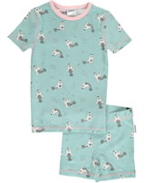 Maxomorra Pyjama Schlafanzug kurz Slim SEEHUND blau/rosa M428-D3245 GOTS