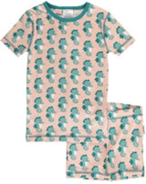 Maxomorra Pyjama Schlafanzug kurz Slim SEEPFERDCHEN blau/rosa M428-D3235 GOTS