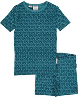 Maxomorra Pyjama Schlafanzug kurz Slim TRAKTOR soft petrol M428-D3219 GOTS
