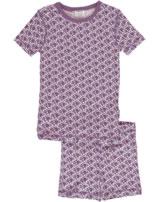 Maxomorra Pyjama Schlafanzug kurz Slim TUKAN lila M428-D3238 GOTS