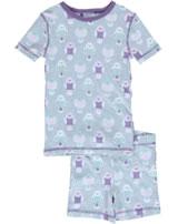 Maxomorra Pyjama Schlafanzug kurz Slim WELLENSITTICH grau/lila M428-D3232 GOTS