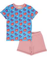 Maxomorra Pyjama Schlafanzug kurz VÖGEL blau/rosa GOTS M439-C3337