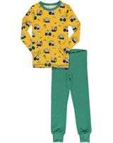 Maxomorra Pyjama Schlafanzug lang Slim BAGGER gelb/grün M438-D3284 GOTS