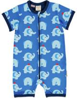 Maxomorra Strampler Spieler Kurzarm ELEPHANT FRIENDS blau GOTS M444-C3339