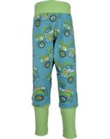 Maxomorra Sweat-Hose mit Bund BUNTER TRUCK blau/grün GOTS M547-C3365