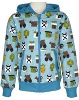 Maxomorra Sweat-Jacke Hood GARTEN pale blue M339-D3214 GOTS