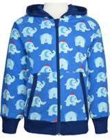 Maxomorra Sweat-Jacke Hoodie ELEPHANT FRIENDS blau GOTS M472-C3339