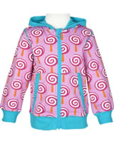 Maxomorra Sweat-Jacke Hoodie LOLLIPOP rosa/türkis P8SP-S339-D3092