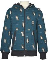 Maxomorra Cardigan Hood OTTER blue M472-D3281 GOTS