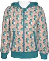 Maxomorra Sweat-Jacke Hoodie SEEPFERDCHEN blau/rosa M339-D3235 GOTS