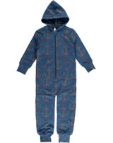 Maxomorra Onepiece with hood ANCHOR blue/red M415-D3248 GOTS