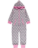 Maxomorra Onepiece with hood LEAF grey/pink P8WI-S415-D3157 GOTS