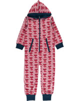 Maxomorra Onepiece with hood FOX pink/blue P8WI-S415-D3158 GOTS